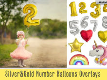Shaped Number Balloons Overlays