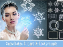 SNOWFLAKES Clipart + Backgrounds