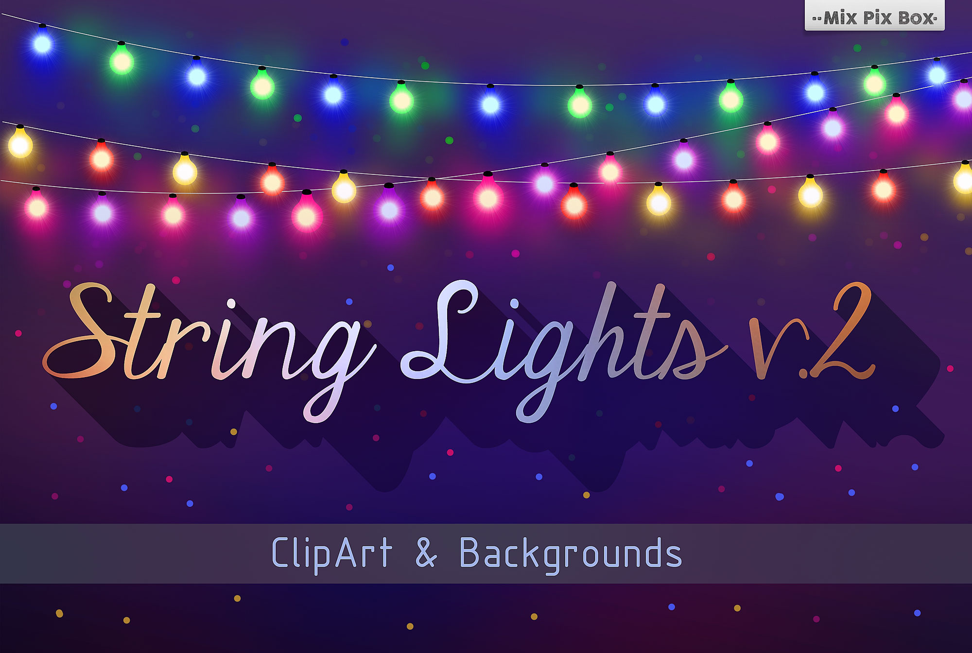 String Lights v.2 Clip Art + Backgrounds