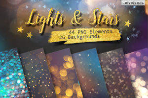 Lights and Stars Clipart + Backgrounds