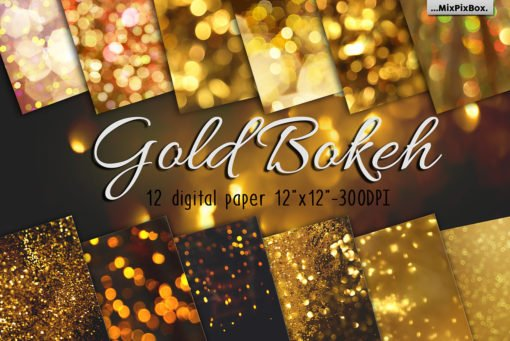 Gold Bokeh Digital Paper