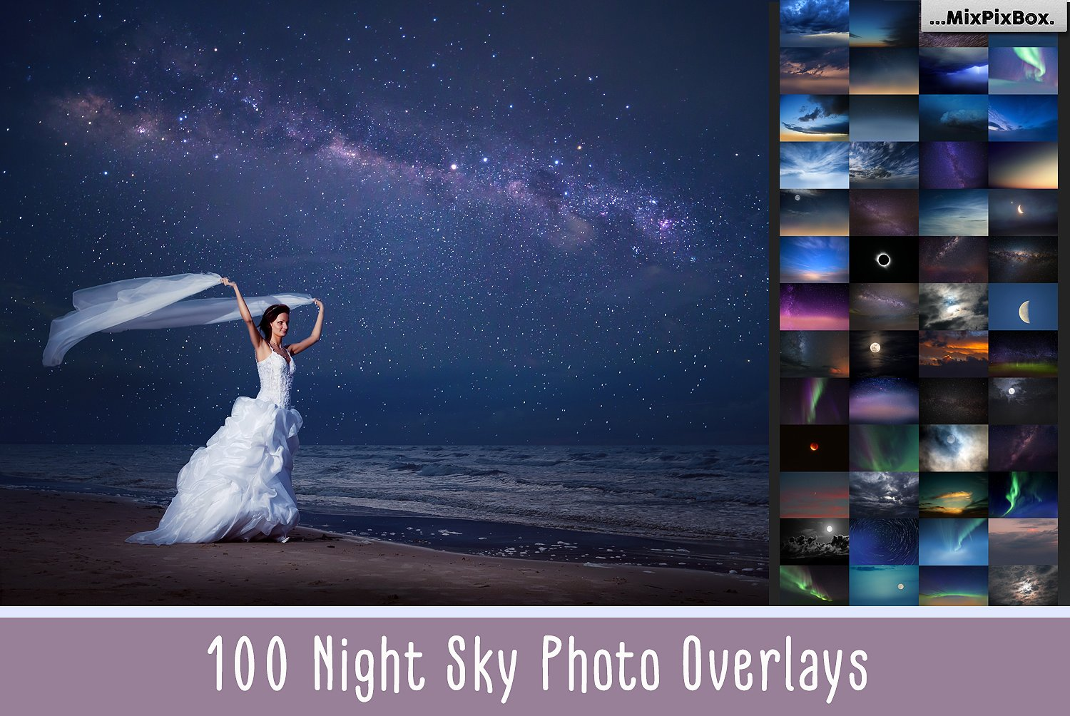 100 Night Sky Photo Overlays Bundle
