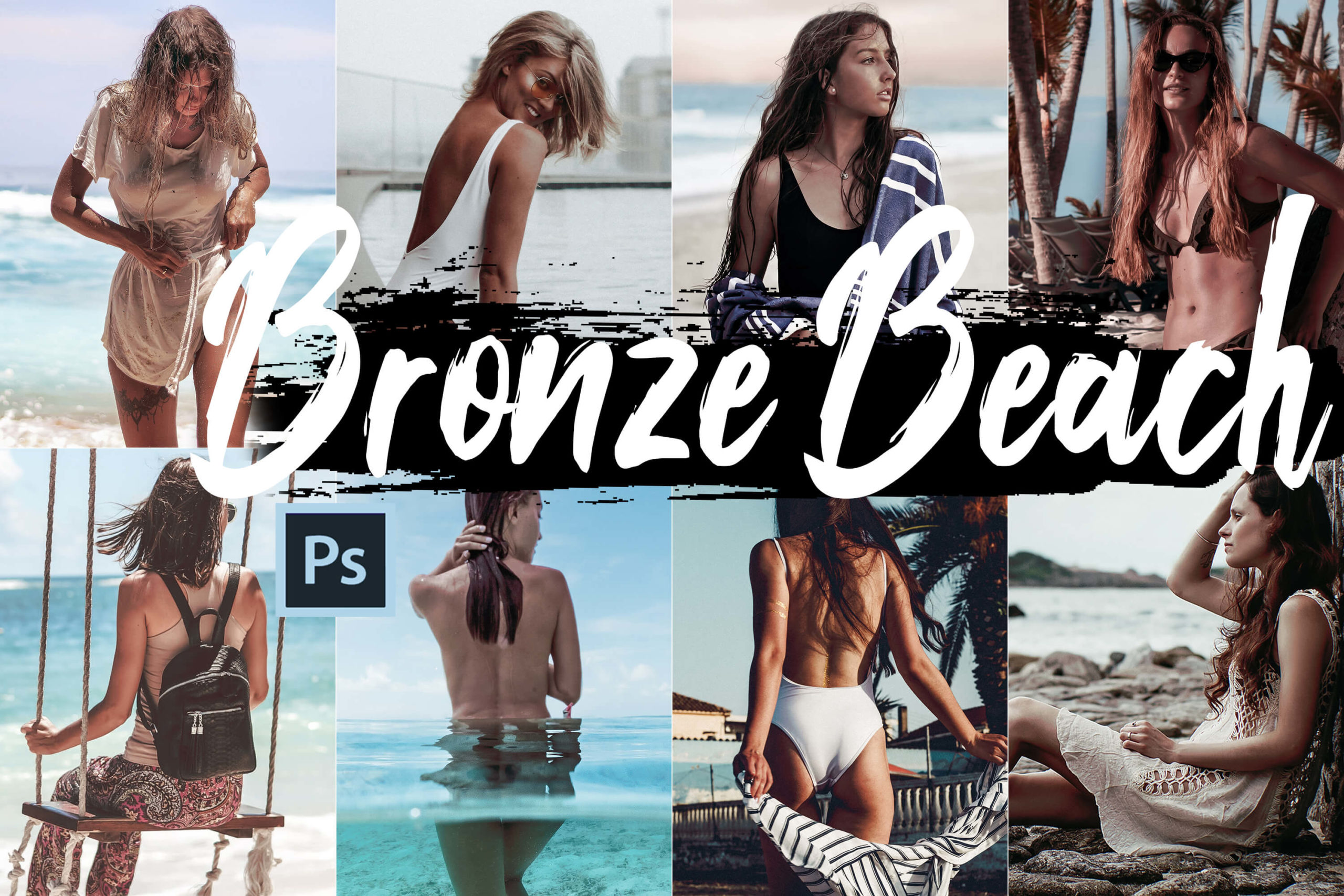 Bronze Beach Theme PS Actions and LUTs Bundle