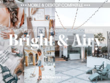 Bright and Airy MOBILE Lightroom Presets by black.white.vivid.