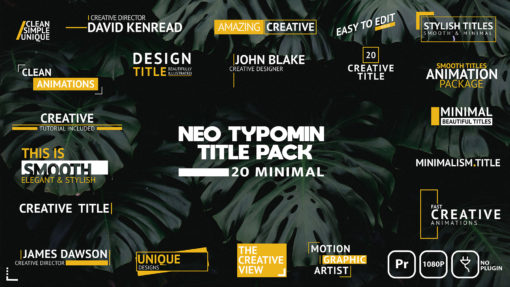 Neo Typomin Titles Pack (Premiere Pro MOGRT)