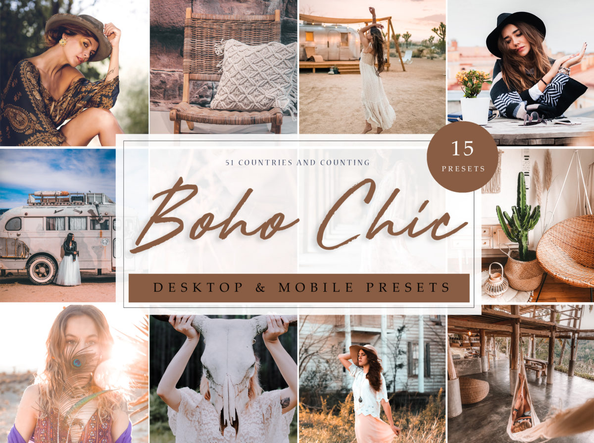 Boho Chic Fashion + Style Lightroom Presets
