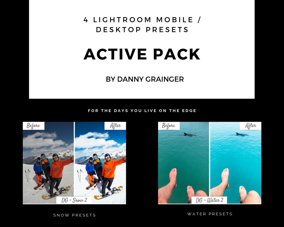 Danny Grainger ACTIVE PACK – Lightroom CC Desktop / Mobile Presets