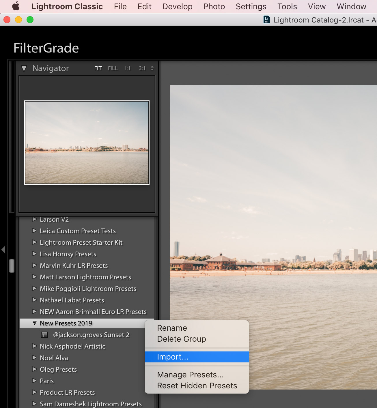 import presets to new folder Lightroom Classic CC