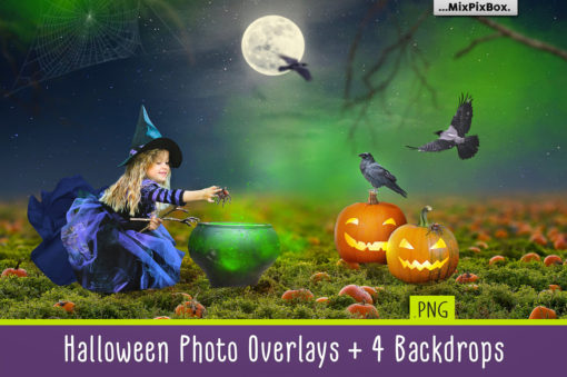 Halloween Photo Overlays + Backdrops