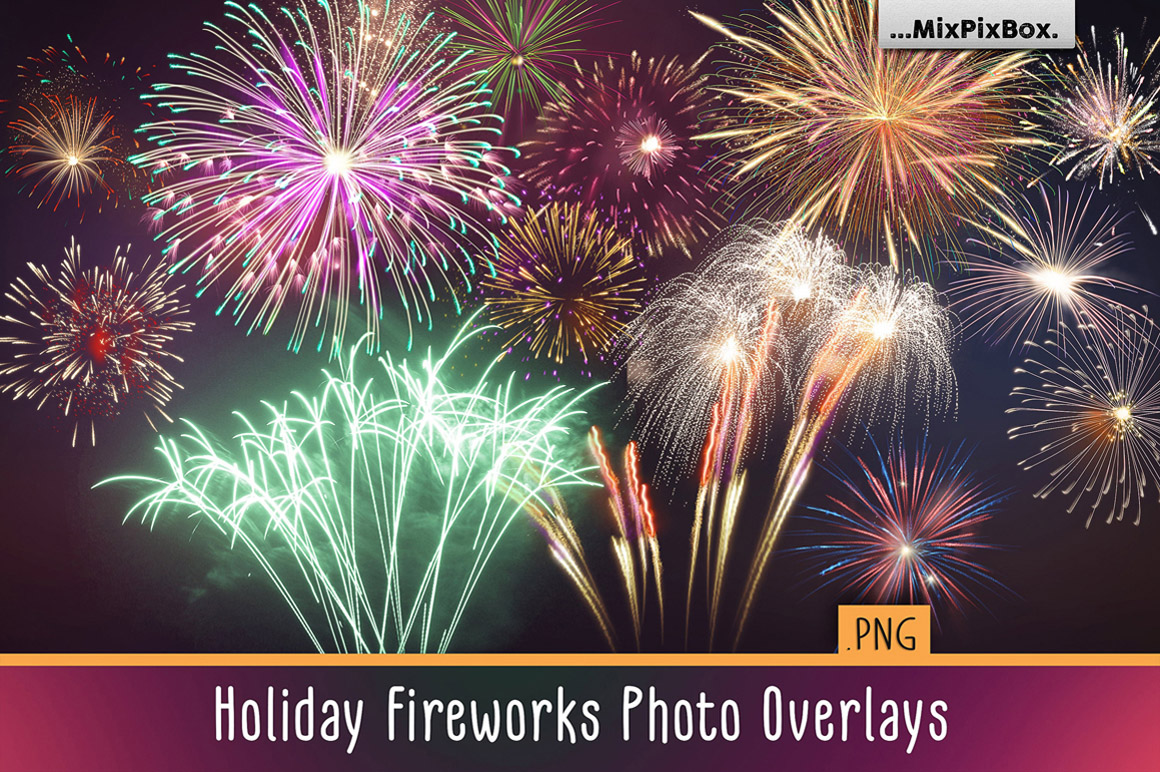 Holiday Fireworks Photo Overlays