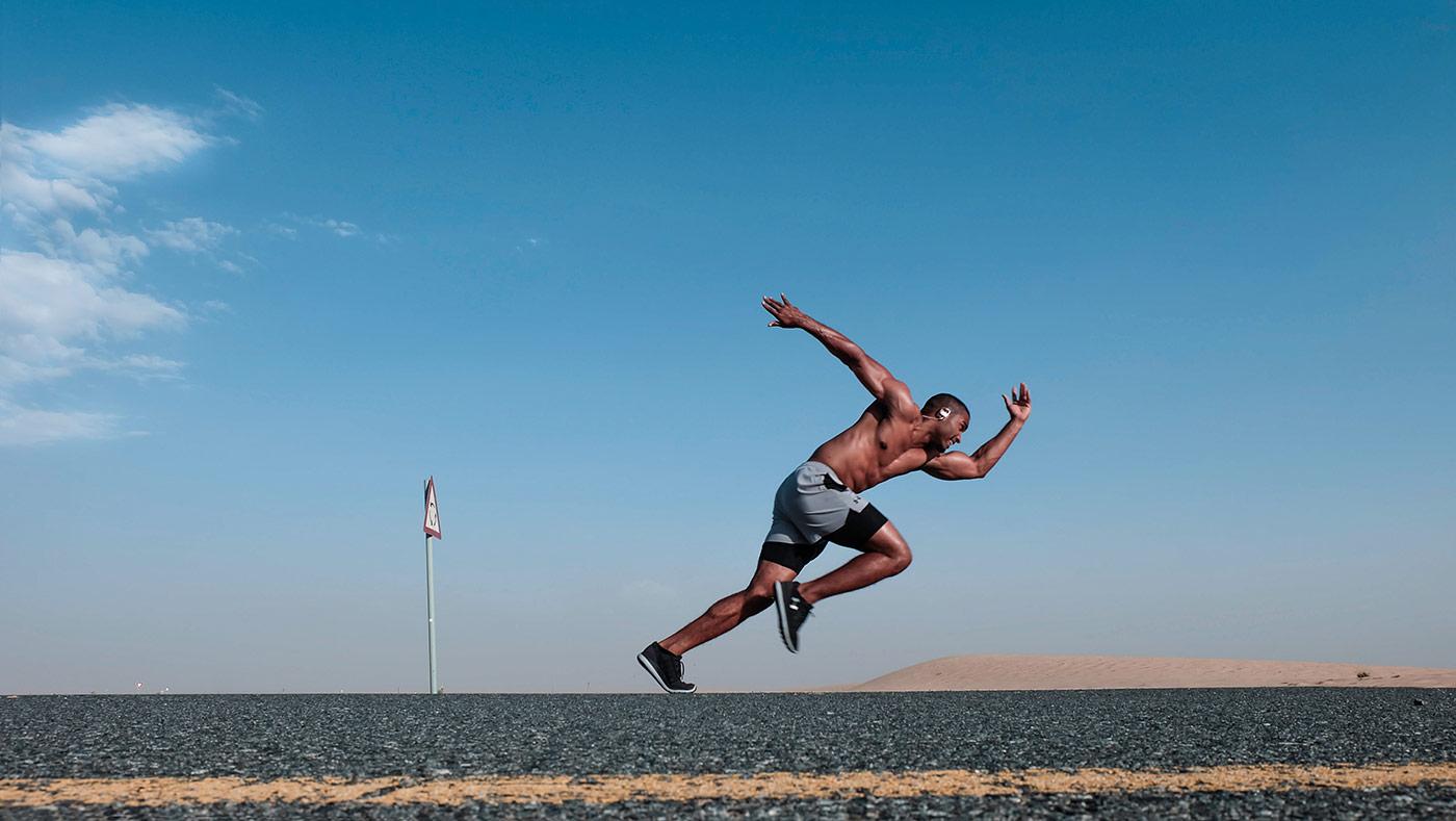 man running speed up