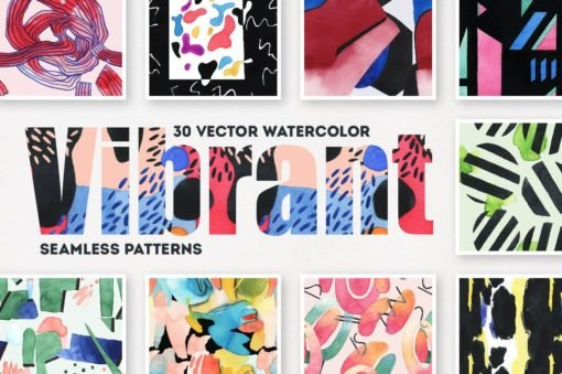 30x Vibrant Watercolor Seamless Patterns