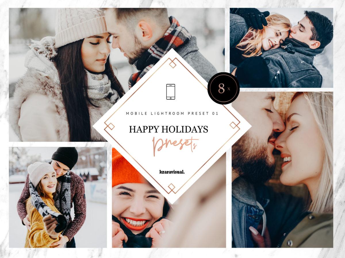 8 x Happy Holidays Mobile Lightroom Presets