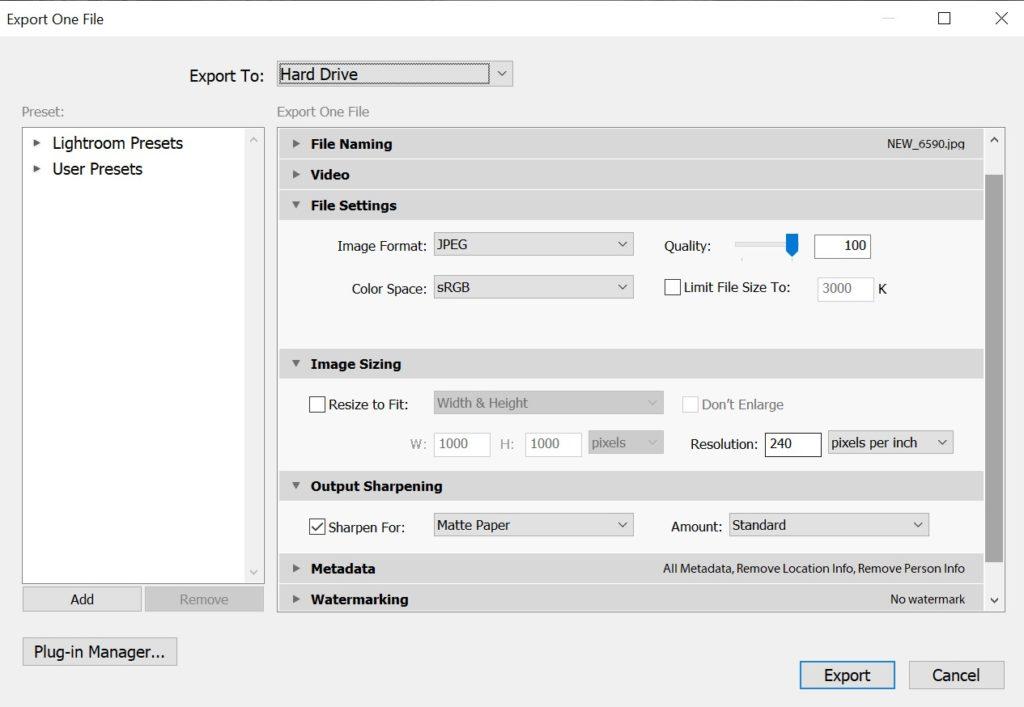 Export settings - FilterGrade