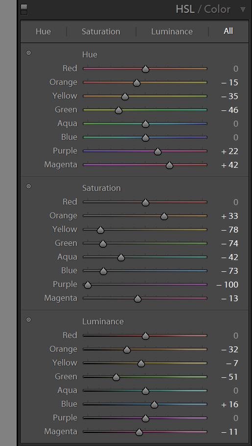 HSL Colour - FilterGrade