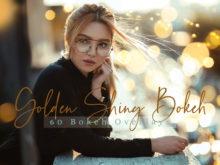 60 Golden Shiny Bokeh Photo Overlays Pack