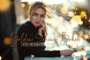 60 Golden Shiny Bokeh Photo Overlays Pack