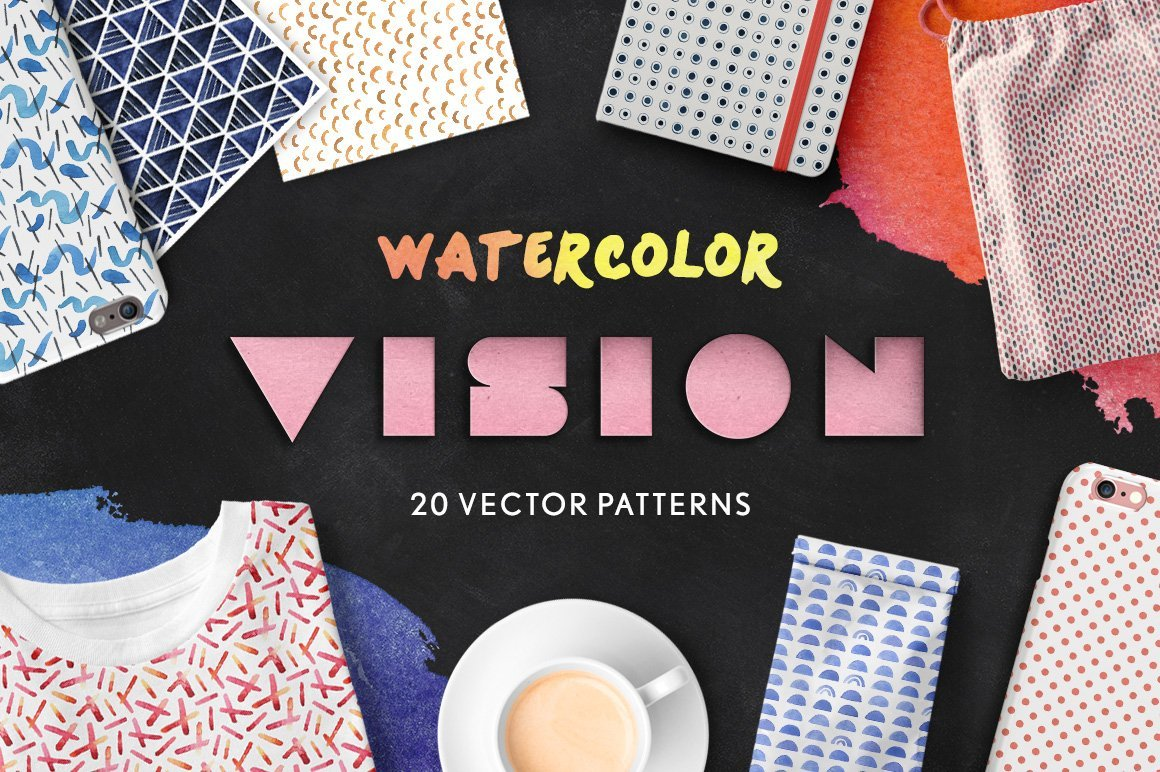 Vision: Seamless Watercolor Patterns