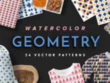 Watercolor Geometry Vector Patterns