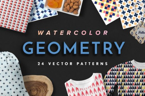 Watercolor Geometry Vector Patterns