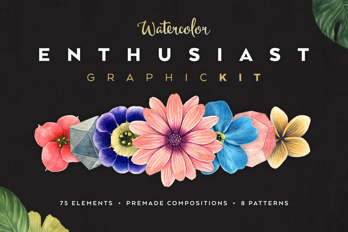 Watercolor Enthusiast Graphics Kit