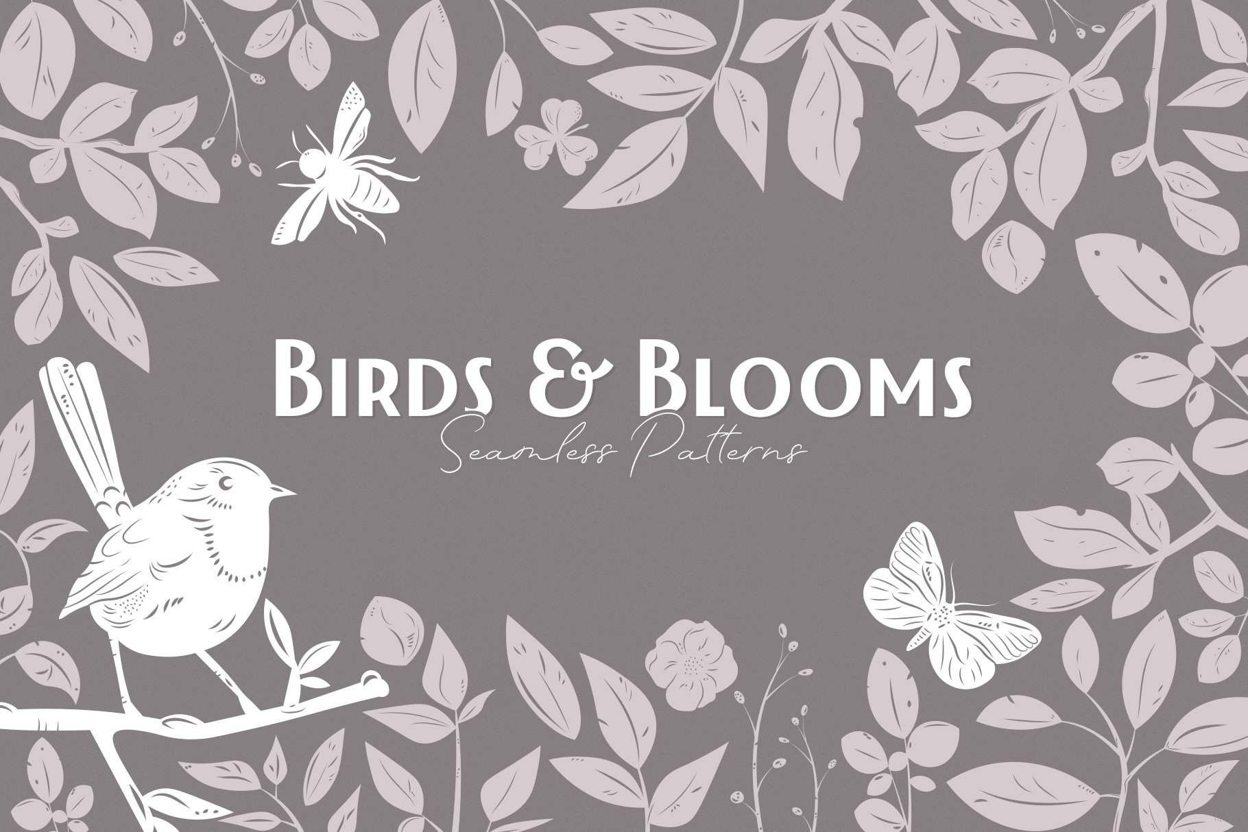 Birds & Blooms Seamless Patterns