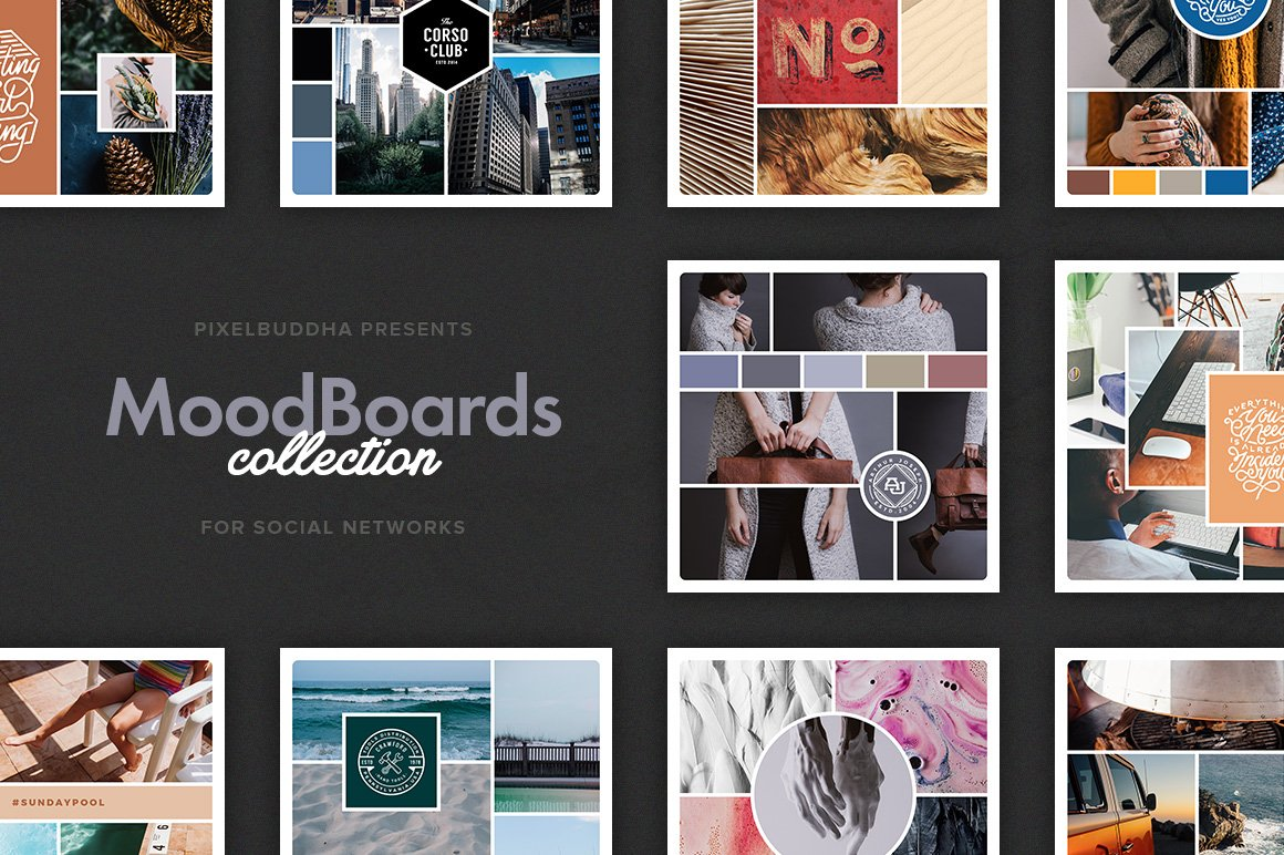 social mood boards psd template