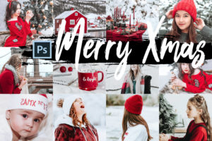 5x Merry Xmas Photoshop Actions + LUTs Bundle
