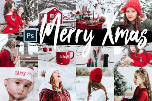 5x Merry Xmas Photoshop Actions + LUTs Bundle