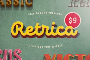 Retrica: Vintage Photoshop Text Effects Pack