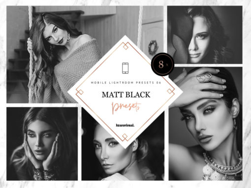 8 x Matt Black Mobile Lightroom Presets