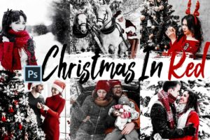 5x Christmas In Red Photoshop Actions and LUTs