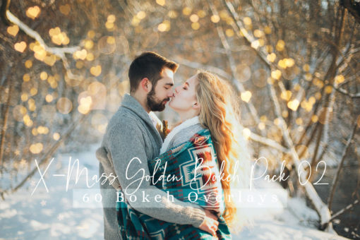 60 X-Mass Golden Bokeh Pack 02 Photo Overlays