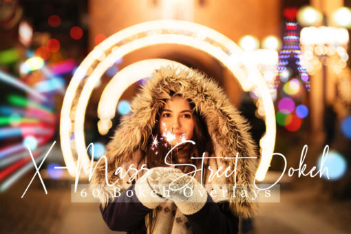60 X-Mass Street Bokeh Lights Photo Overlays