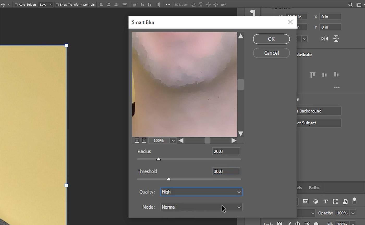 photoshop smart blur filter