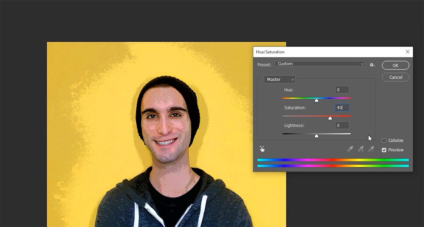 hue/saturation adjustment in Photoshop