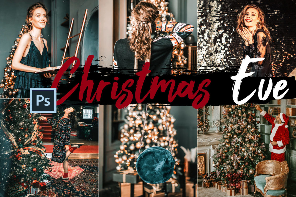 5x Christmas Eve Photoshop Actions and LUTs