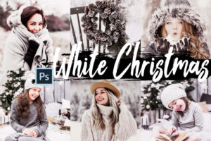 5x White Christmas Photoshop Actions and LUTs