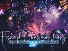60 Firework Christmas Party Photo Overlays
