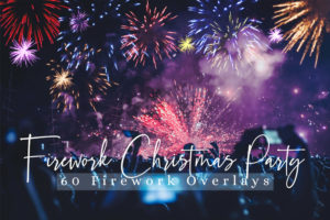 60 Firework Christmas Party Photo Overlays