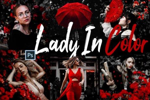 10 Lady In Color Photoshop Actions and LUTs