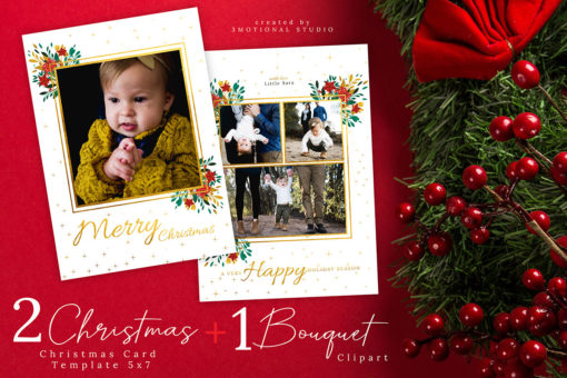 Christmas Card Photoshop Template 5x7