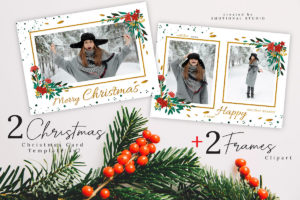 Merry Christmas Card Photoshop Template 5x7