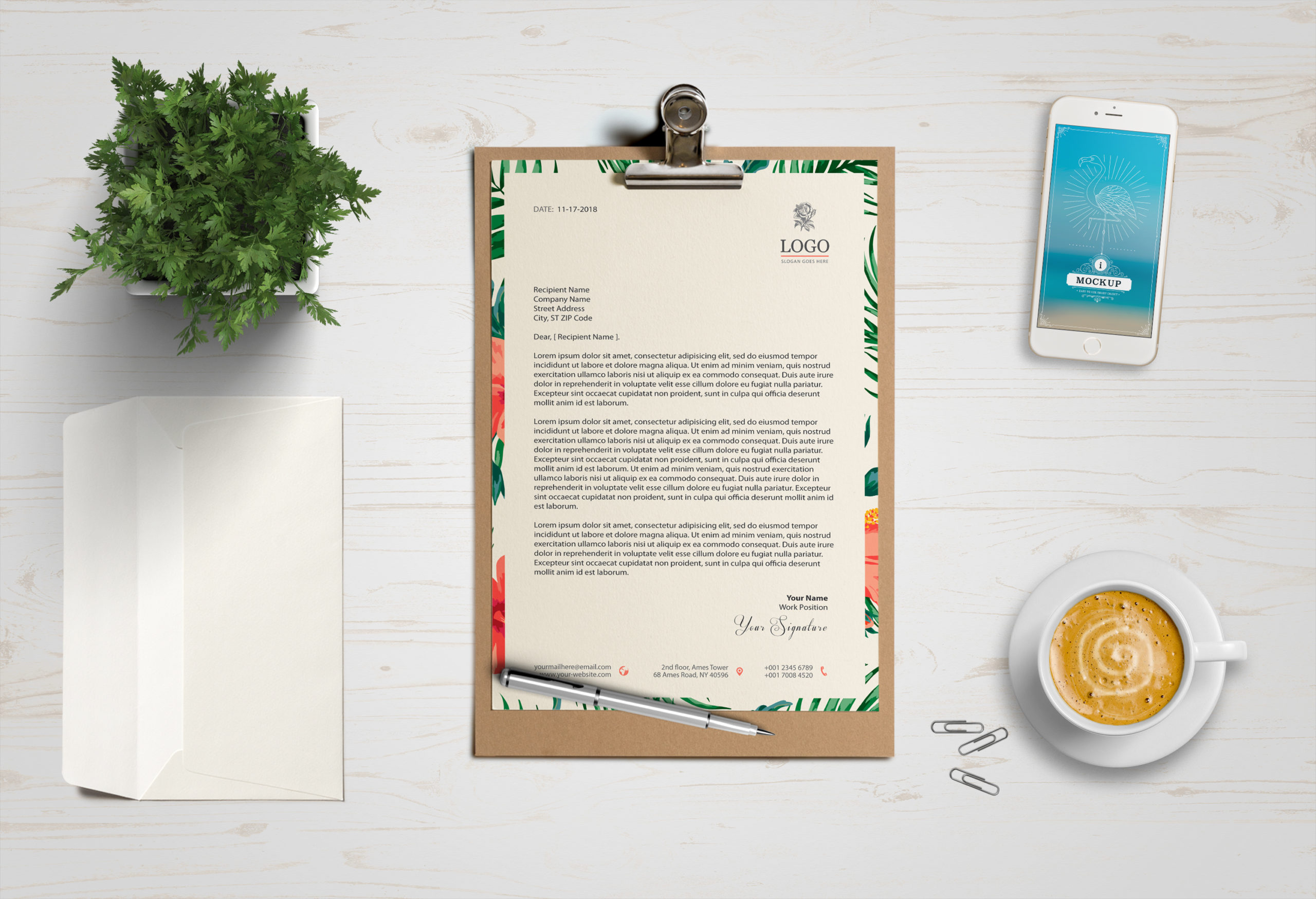 A4 One Page Clipboard Mockup
