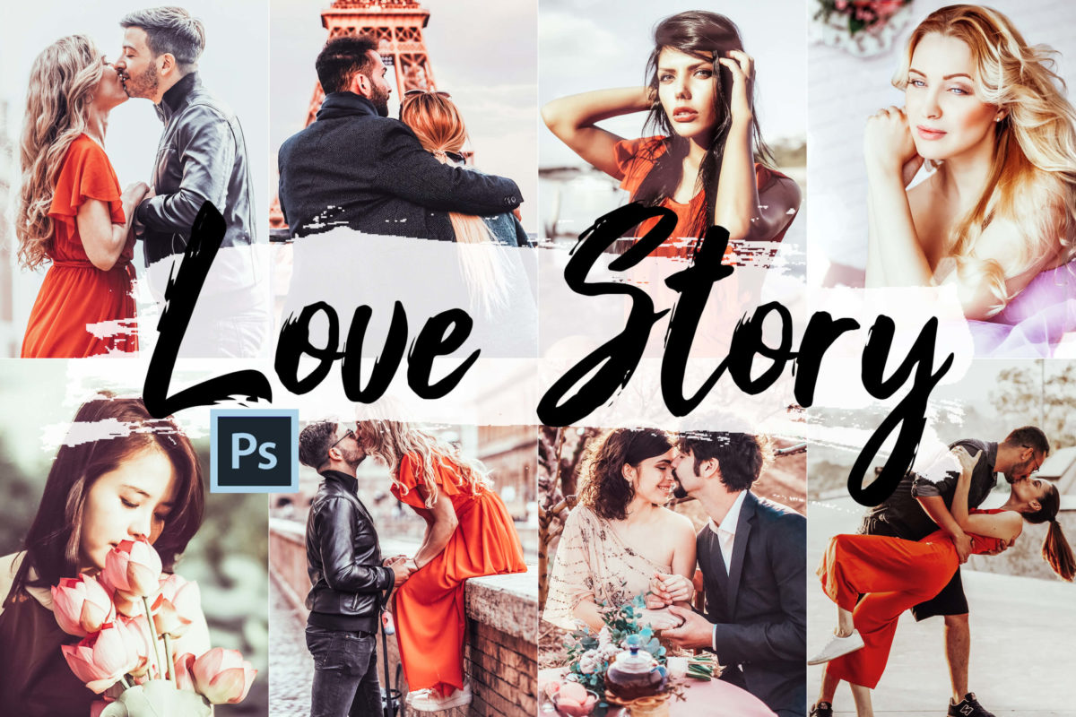 5x Love Story Photoshop Actions, LUTs, & ACR Presets