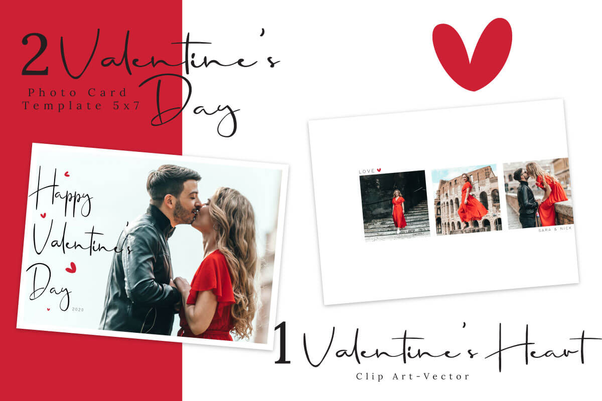 Red & White Valentine's Day Photo Card Template