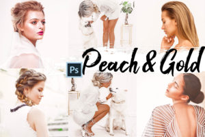 9x Peach & Gold Photoshop Actions and LUTs