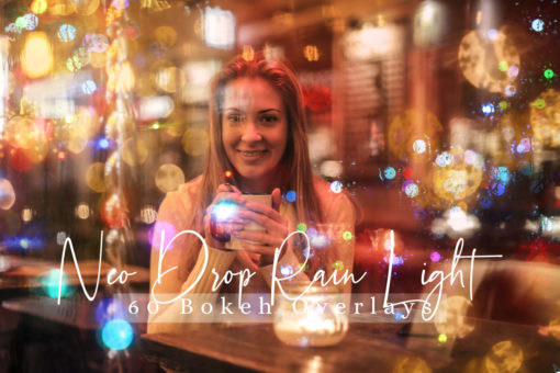 60 Neo Drop Rain Lights Effect Photo Overlays