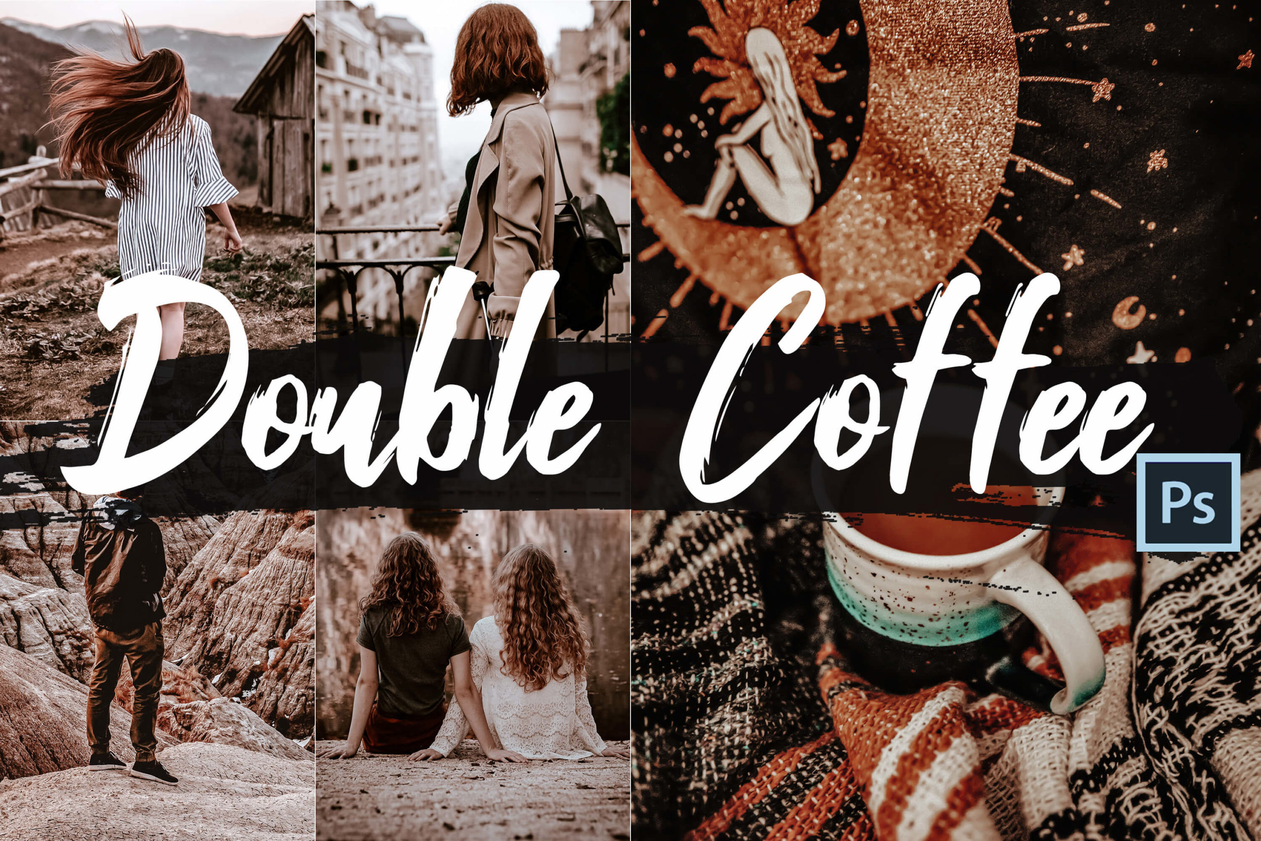 5x Double Coffee Photoshop Actions and LUTs
