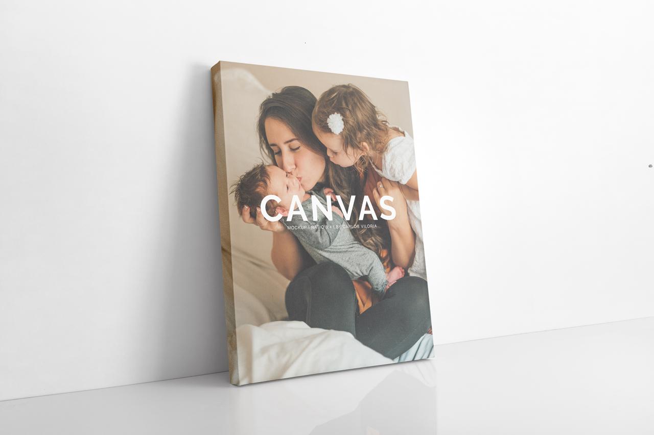 canvas portrait mockup photoshop